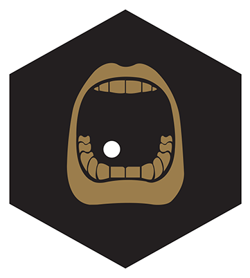 black hexagon with a brown stomach icon