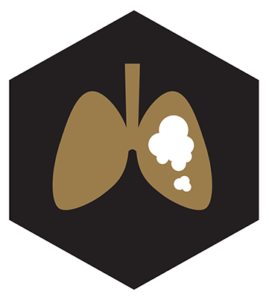 black hexagon with brown lungs inside icon