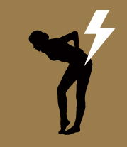 person bent over with hands on back indicting pain with a white lightning bolt on the back