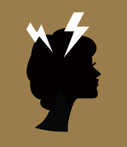 female side headshot with lightning bolts on her head