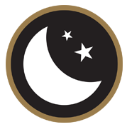 black circle outlined in brown with a moon and 2 stars